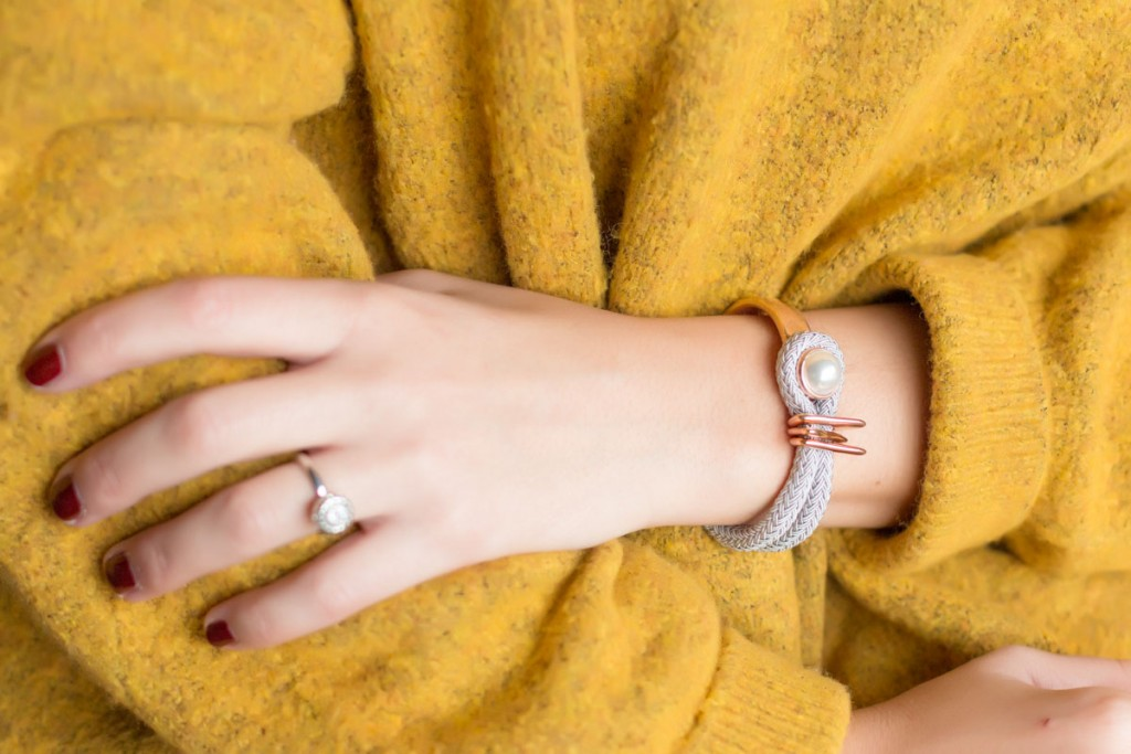 Combinación pulsera esclava+cordon espiga con anillo cabuchon strass
